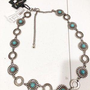 Art Class | Girls Silver Chain Turquoise Belt